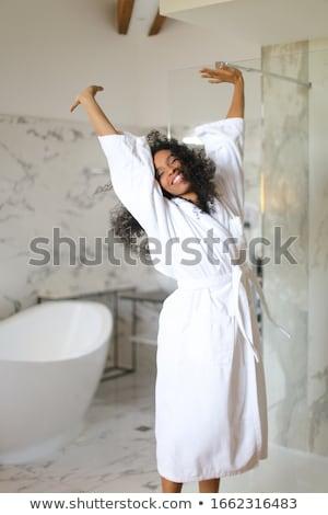 Mulher banho robe menina cara moda Foto stock © photography33