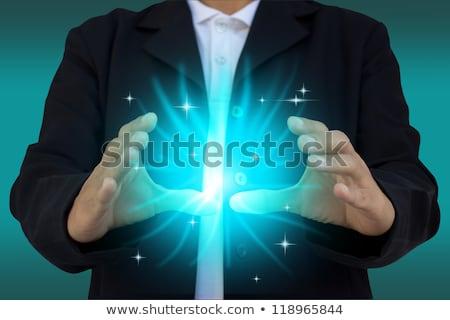 Kéz a kézben nyitva izzó fények kéz absztrakt Stock fotó © oly5