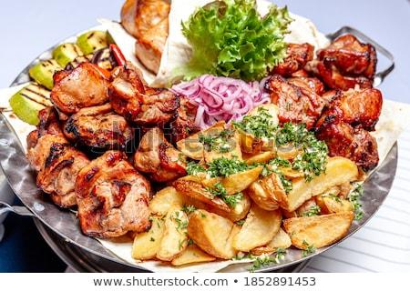 ストックフォト: 魚 · ケバブ · ディナー · 調理 · 新鮮な · バーベキュー