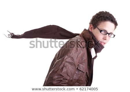 Portrait of handsome young man, with scarf fluttering Stock photo © alexandrenunes