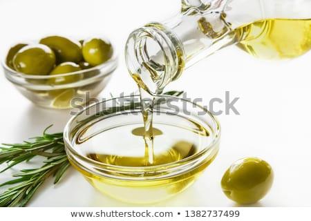 Glas jar maagd olijfolie plaat Stockfoto © marimorena