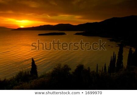 Złoty wygaśnięcia zdjęcie spektakularny południowy Grecja Zdjęcia stock © akarelias
