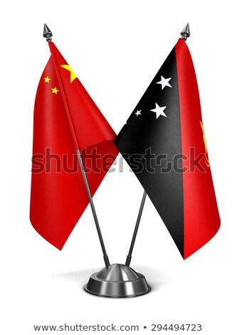Китай Папуа-Новая Гвинея миниатюрный флагами изолированный белый Сток-фото © tashatuvango