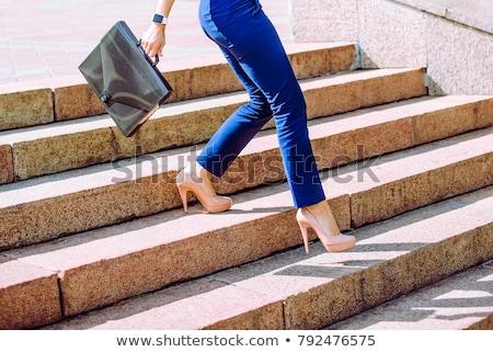 lopen · omhoog · trap · jong · meisje · beton · business - stockfoto © roboriginal