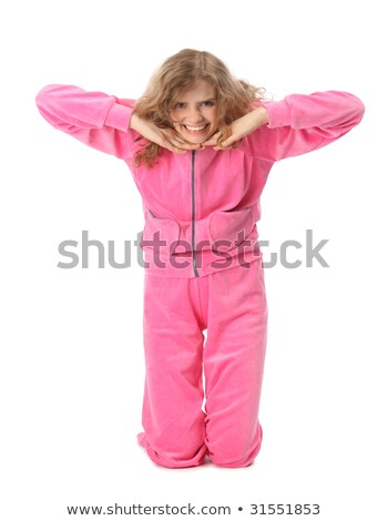 girl in pink clothes represents letter t stock photo © paha_l