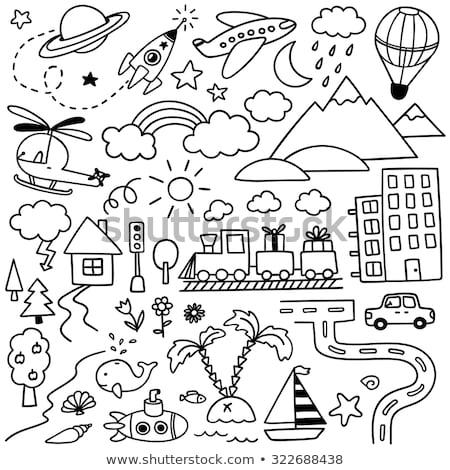 Doodle vector ingesteld kleurrijk uitstekend Stockfoto © netkov1