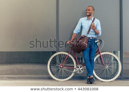 teljes · alakos · portré · nyugodt · mosolyog · férfi · áll - stock fotó © deandrobot