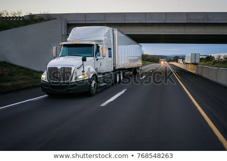 Commercial trailer truck in motion on freeway Stock photo © stevanovicigor