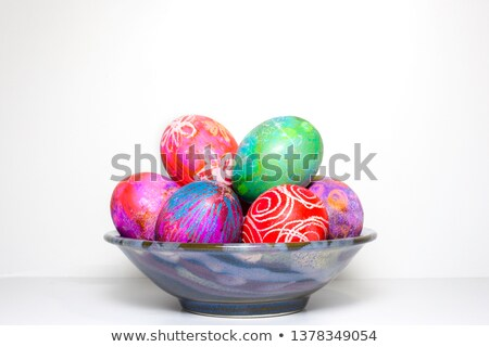 Fun traditional vibrant hand dyed Easter eggs Stock photo © ozgur