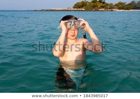 Fiatal srác gyönyörű tenger snorkeling áll élvezi Stock fotó © meinzahn