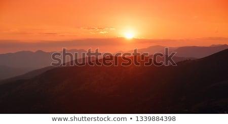Mer montagnes rouge soleil bleu japonais Photo stock © ConceptCafe