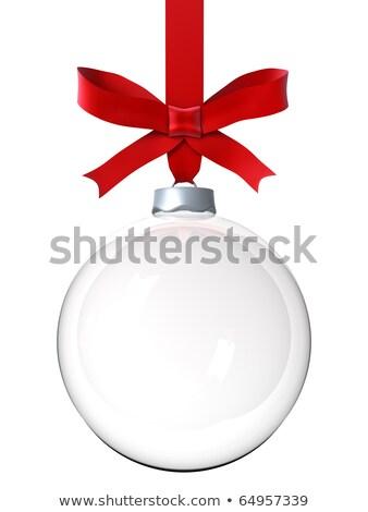 Navidad vidrio pelota rojo arco cinta Foto stock © -Baks-