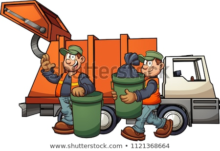 Garbage truck picking up trash Stock photo © bluering