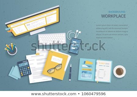 Optimalisatie laptop moderne werkplek landing Stockfoto © tashatuvango