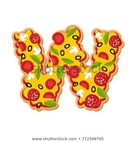 List w pizza chrzcielnica włoski posiłek alfabet Zdjęcia stock © popaukropa