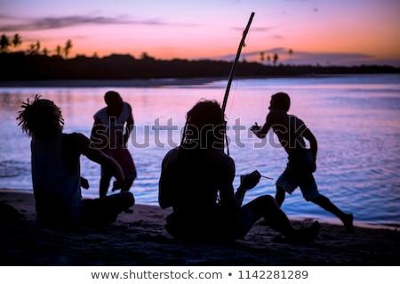 capoeira · pôr · do · sol · homem · esportes · fundo · silhueta - foto stock © adrenalina
