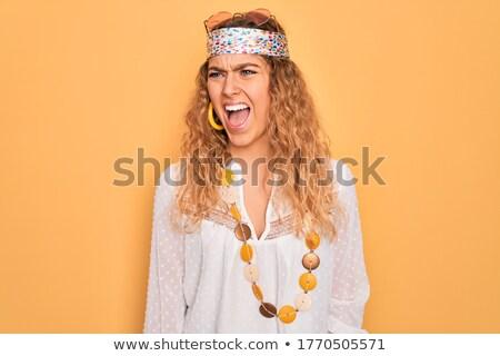 Wściekły hippie kobieta krzyczeć wskazując Zdjęcia stock © RAStudio