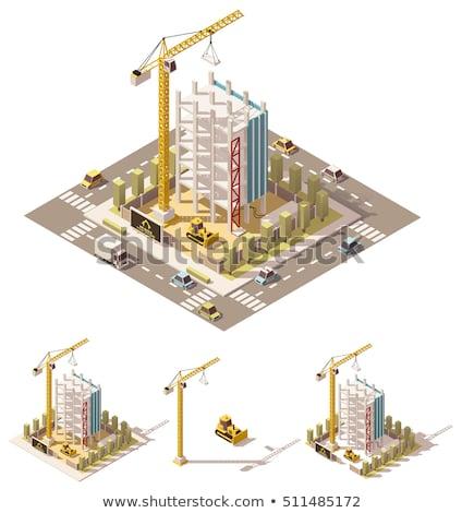 torre · guindaste · isométrica · 3D · elemento · mar - foto stock © studioworkstock