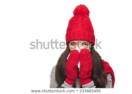 hoed · gestreept · sjaal · kleur · vrouwelijke · patroon - stockfoto © is2