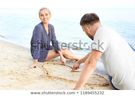 coração · areia · casamento · relaxar · ilha - foto stock © is2