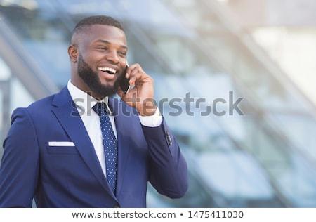 ビジネスマン 会話 幸せ オフィス コンピュータ 男 ストックフォト © wavebreak_media