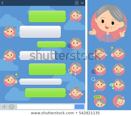 Purple clothes grandmother sns window Stock photo © toyotoyo