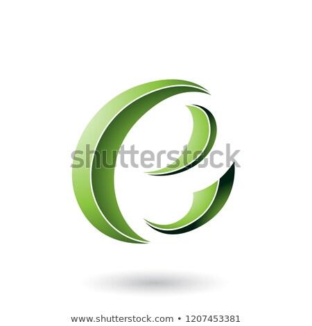 Green Striped Crescent Shape Letter E Vector Illustration Stock photo © cidepix