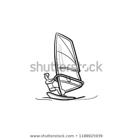 Windszörf férfi kézzel rajzolt skicc firka ikon Stock fotó © RAStudio