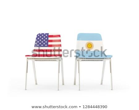 Deux chaises drapeaux Argentine isolé blanche Photo stock © MikhailMishchenko