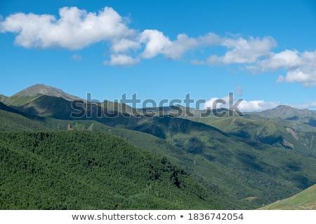 Kilátás hegy terjedelem Grúzia reggel tájkép Stock fotó © Kotenko