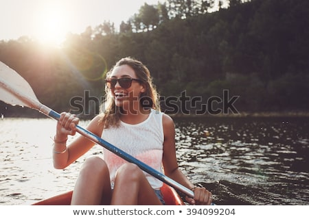 женщину байдарках иллюстрация спорт морем путешествия Сток-фото © adrenalina