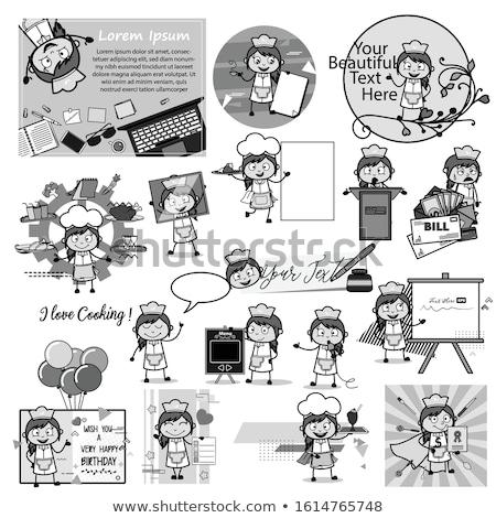 Lány különböző szöveglufi illusztráció boldog terv Stock fotó © colematt