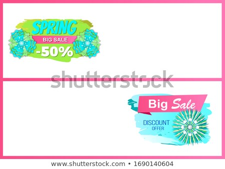 Promo Price, Web Page Template, Tag and Bloomings Photo stock © robuart