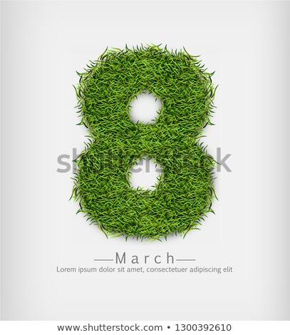 8 march green grass Vector realistic. Symbol sign label offers Stock photo © frimufilms