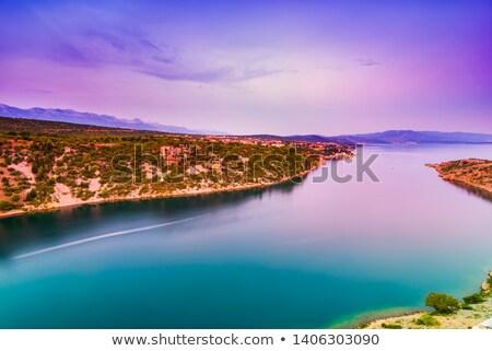 colorido · pôr · do · sol · ponte · Croácia · noite · ver - foto stock © rafalstachura