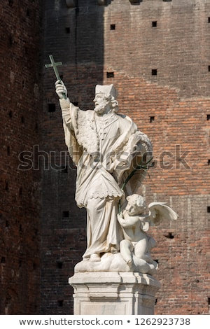 Stockfoto: Statue Of John Nepomuk In Sforza Castle Milan Italy