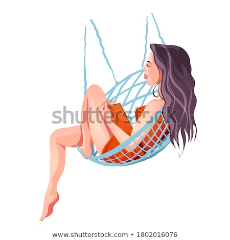 Girl Lying On Hammock Hanging On Palm Tree At Beach Stock photo © AndreyPopov