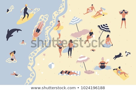 summer activity on beach people on sand vector stock photo © robuart