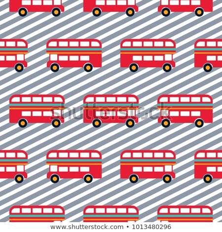Red bus boy striped seamless vector pattern. stock photo © yopixart