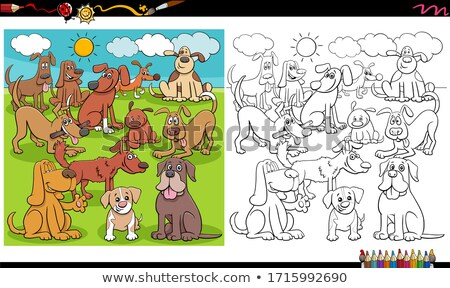 dogs animal characters large group color book stock photo © izakowski