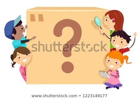 Stickman Kids Mystery Box Illustration Stock photo © lenm