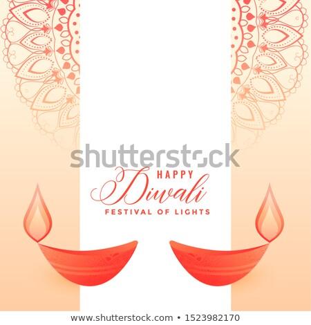 elegant festival background with two flat diya stock photo © sarts