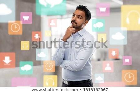 indian · zakenman · denken · aantrekkelijk · laat · dertigers - stockfoto © dolgachov