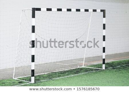 Football gates and net against white wall on green field for sports trainings Stock photo © pressmaster