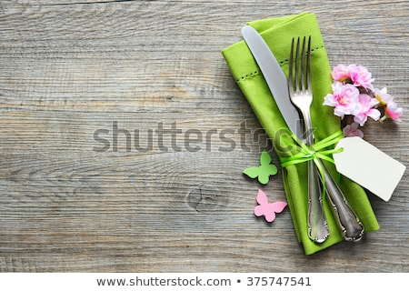 Spring table setting with blooming branch Stock photo © furmanphoto