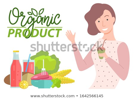 Organic Product Caption, Woman and Vegetables Stock photo © robuart