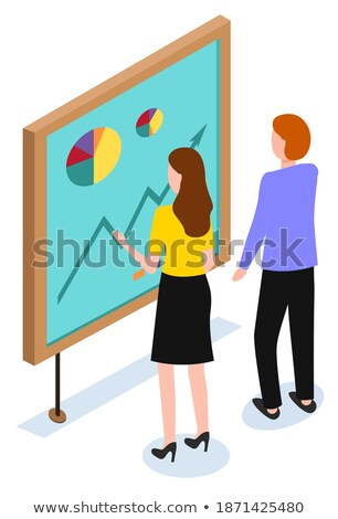 Woman Stand near Board and Explore Information Stock photo © robuart