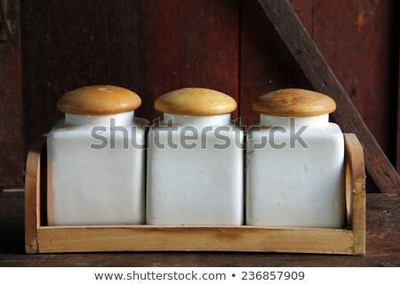 Konteyner şeker tuz baharat depolama kutu Stok fotoğraf © robuart