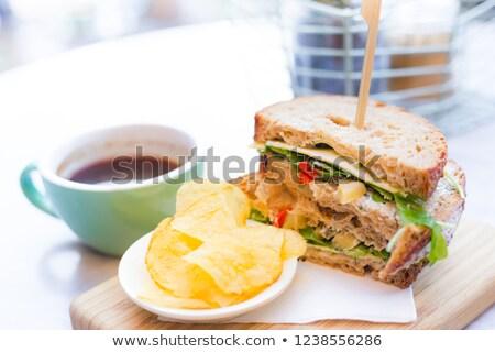 трехслойный бутерброд картофеля фри чипов соус быстрого питания Сток-фото © karandaev