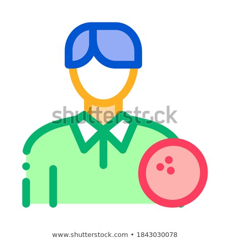 Man bowling icon vector schets illustratie Stockfoto © pikepicture